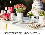 sweet table decor for an event. ... | Shutterstock . vector #329469932