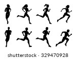 running people silhouettes | Shutterstock . vector #329470928