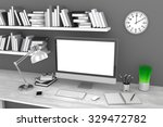 3d illustration pc screen on... | Shutterstock . vector #329472782