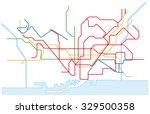 barcelona traffic network map | Shutterstock .eps vector #329500358