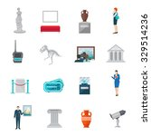 museum icon flat set with... | Shutterstock .eps vector #329514236