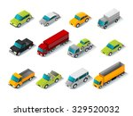 isometric car icons set with 3d ... | Shutterstock .eps vector #329520032