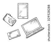 sketch of modern smartphone ... | Shutterstock .eps vector #329528288