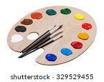 wooden art palette with paints... | Shutterstock . vector #329529455