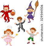 cartoon kids wearing halloween... | Shutterstock . vector #329544506