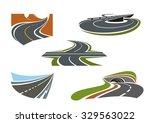 crossroad  mountain road ... | Shutterstock .eps vector #329563022