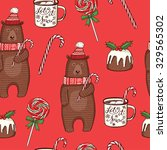 hand drawn christmas seamless... | Shutterstock .eps vector #329565302