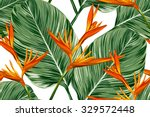 tropical flowers  palm leaves ... | Shutterstock .eps vector #329572448