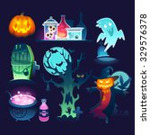 set of colorful halloween... | Shutterstock .eps vector #329576378