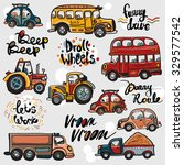 funny cute hand drawn kids toy... | Shutterstock .eps vector #329577542