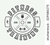 gym logo in vintage style.... | Shutterstock .eps vector #329580275