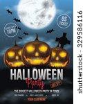 halloween party flyer design...   Shutterstock .eps vector #329586116