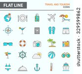 set of modern simple line icons ... | Shutterstock .eps vector #329599862