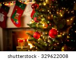 beautiful decorated fireplace... | Shutterstock . vector #329622008