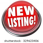 new listing words on a red... | Shutterstock . vector #329623406