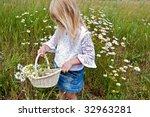 Little Girl Picking Wild Daisies