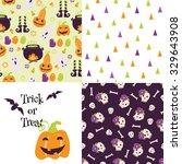 set of halloween backgrounds.... | Shutterstock . vector #329643908
