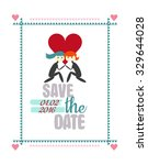 save the date card with two... | Shutterstock .eps vector #329644028