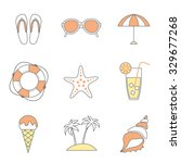 vector set of line flat sea ... | Shutterstock .eps vector #329677268