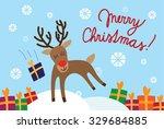 happy jumping reindeer with... | Shutterstock .eps vector #329684885