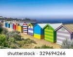 brighton beach bathing boxes ... | Shutterstock . vector #329694266