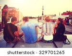 youth group vacation travel city | Shutterstock . vector #329701265