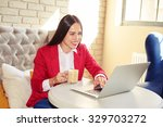 cheerful woman with laptop... | Shutterstock . vector #329703272
