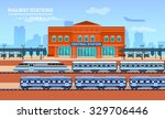 Railway Station  Vector Flat...