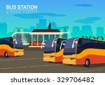 Bus Station  Vector Flat...