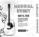guitar music poster. hand drawn ...   Shutterstock .eps vector #329724872