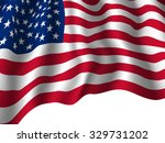 usa flag shaded and waving.... | Shutterstock .eps vector #329731202