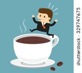 businessman jumping on the cup... | Shutterstock .eps vector #329747675