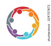 people logo. group of six... | Shutterstock .eps vector #329757872