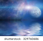 waters reflection and planets | Shutterstock . vector #329760686