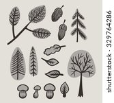 set of icons  autumn forest... | Shutterstock .eps vector #329764286
