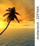 sunset coconut palm tree on...   Shutterstock . vector #3297664