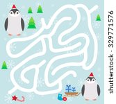 funny penguins in the red hat ...   Shutterstock .eps vector #329771576