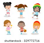 kids and sport  kids playing... | Shutterstock .eps vector #329772716