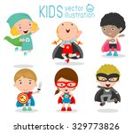 kids with superhero costumes... | Shutterstock .eps vector #329773826