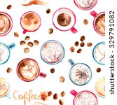 pattern coffee cup painted with ... | Shutterstock . vector #329791082