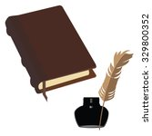 brown old leather book with... | Shutterstock . vector #329800352