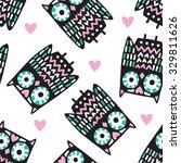 seamless owl pattern vector... | Shutterstock .eps vector #329811626