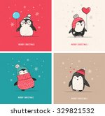 Cute Hand Drawn Penguins Set  ...