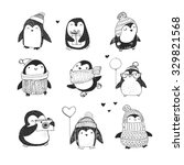 cute hand drawn penguins set  ... | Shutterstock .eps vector #329821568