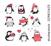 Stock vector cute hand drawn penguins set merry christmas greetings 329821625