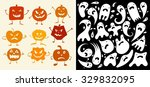 halloween pumpkin and ghosts set | Shutterstock .eps vector #329832095