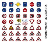 set of doodles road signs. hand ... | Shutterstock . vector #329835815