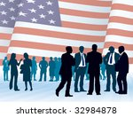 American businesspeople with national flag, conceptual business illustration. - stock vector