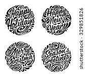 set of christmas calligraphic... | Shutterstock .eps vector #329851826