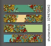 abstract ethnic pattern cards... | Shutterstock . vector #329870042